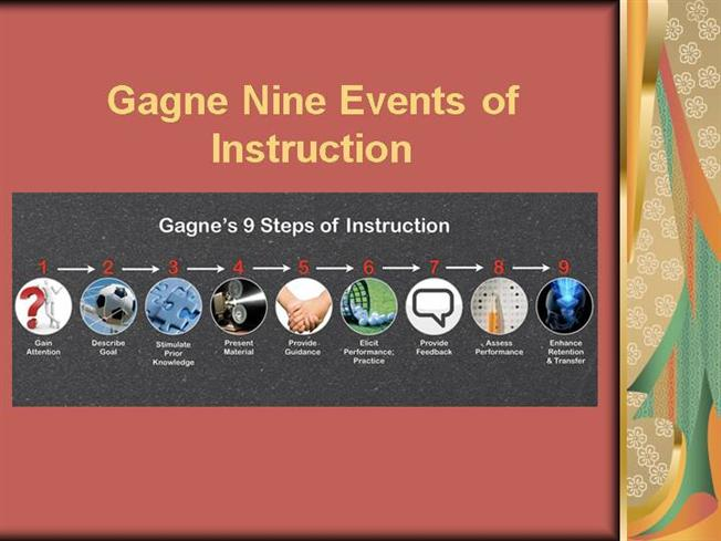 gagnes nine events The nine events of instruction were created to work in conjunction with the cognitive stages associated with the adult learning process (2010.