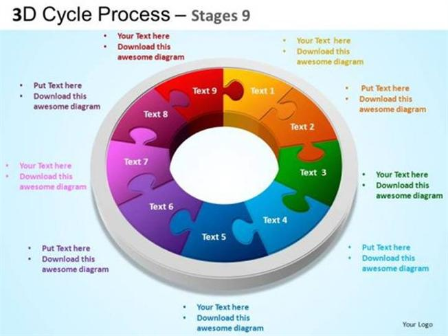 3d Cycle Zigsaw Puzzle Process Business Chart 9 Stages