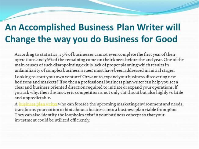 business plan for a writer