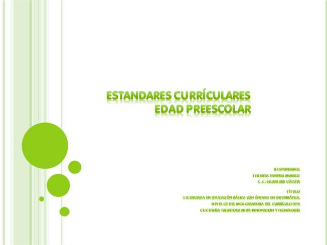 Curriculo 1 Est Ndares De Ingl S En Preescolar Authorstream