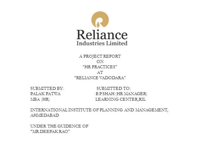 hr policy of reliance industry In 1977, when reliance textile industries limited first went public, the  and  demand recruitment policy labour market human resource.