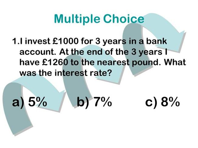 investment multiple choice test