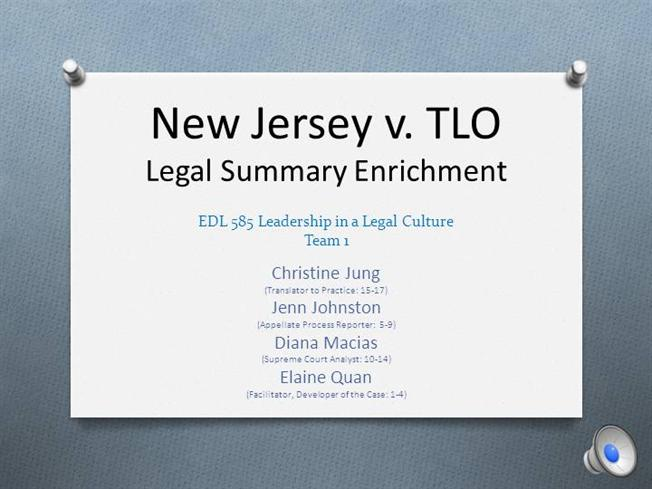 an analysis of a court case new jersey vs tlo The court set a new standard in this case in concluding that a search of students at school is allowed under the fourth amendment what is that standard' and find homework help for other history.