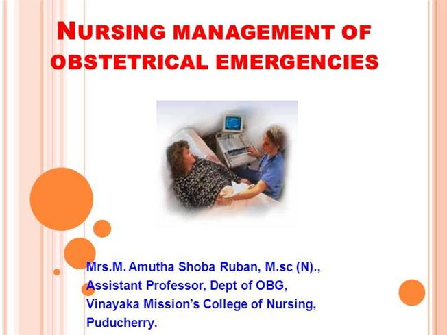 nursing management of obstetrical emergencies