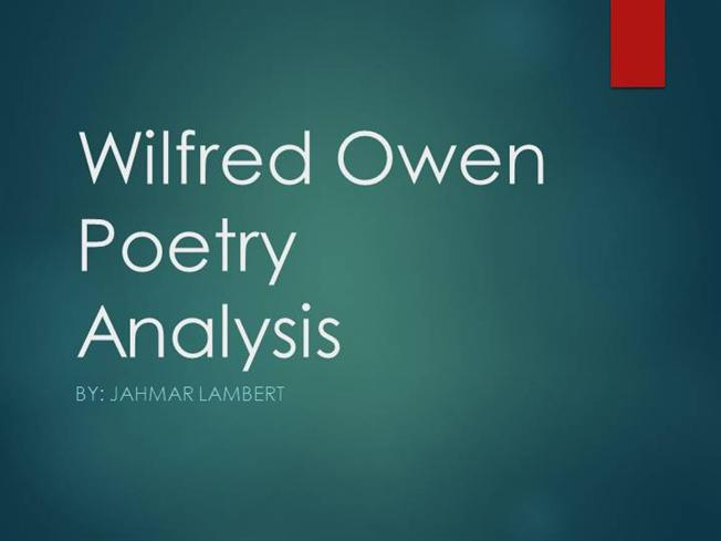 analysis of wilfred owen s poetry