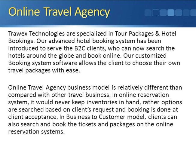 intro to travel agency Introduction to corporate travel departments a ctd is the most cost effective method for managing a large business travel program most companies outsource their travel operations to external travel agencies, paying them fees, which include the agency's profit, overhead and many other indirect costs.