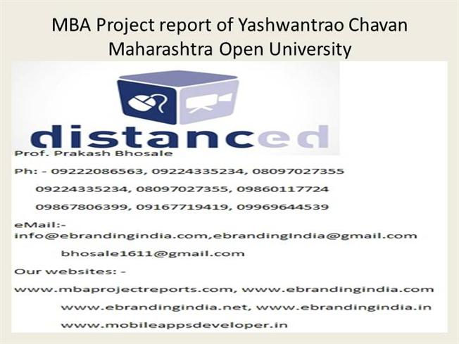 mba project report of yashwantrao chavan maharashtra open