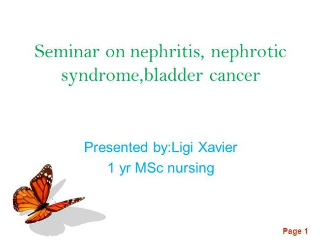 Seminar On Nephritis  Nephrotic Syndrome Bladder Cancer