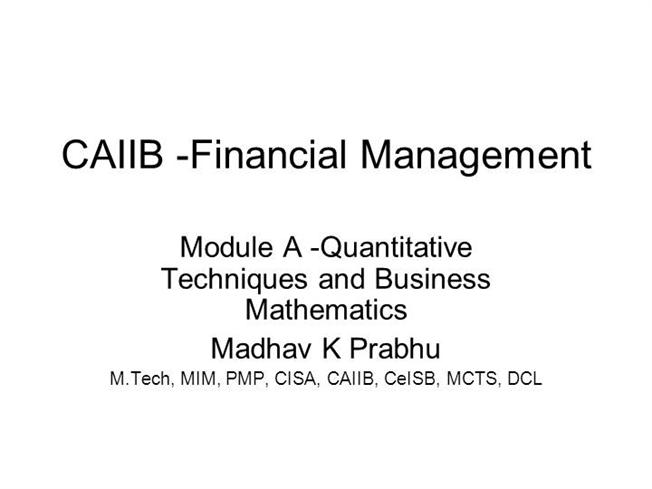 Financial management study material for mba