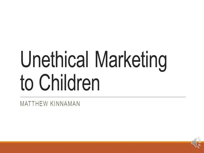unethical food marketing to children Children as consumers: advertising and marketing year6 the products marketed to children— sugar-coated cereals, fast food children as consumers.