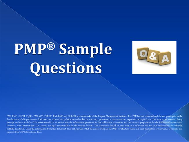 Pmp Five Sample Questions Authorstream