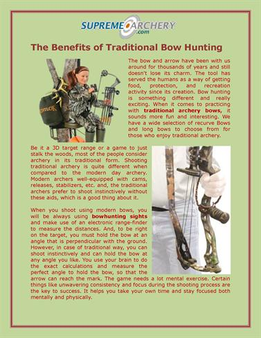 benefits of hunting Hunting: a necessary evil to benefit the greater good 2 aspects of hunting i will conclude by addressing potential changes and offer personal.