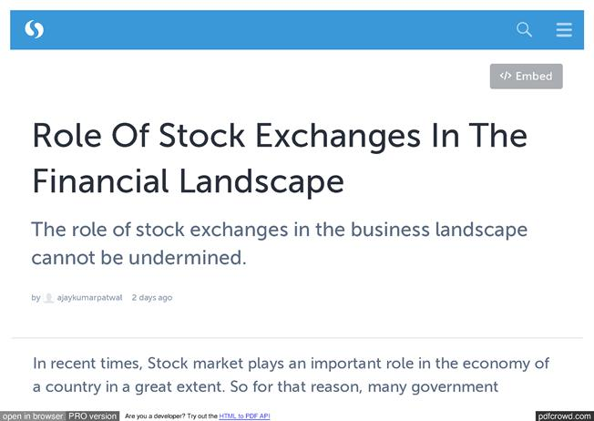 role of stock exchanges