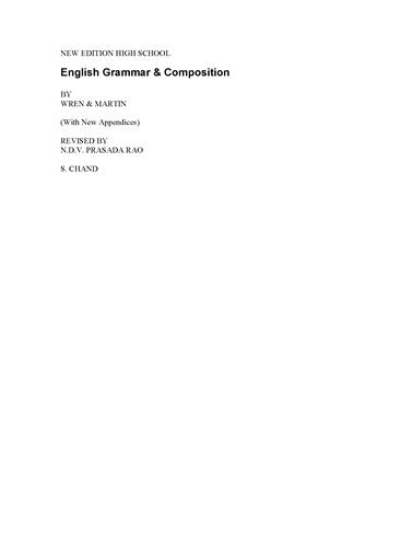 English Grammar Book By Wren And Martin