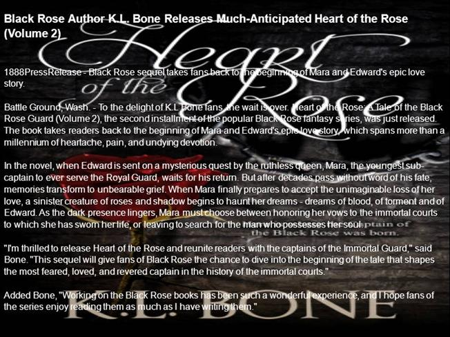 black rose author k l bone heart Kl bone is the author of the bestselling black rose guard dark fantasy series the rise of the temple gods fantasy series and a stand-alone science fi.