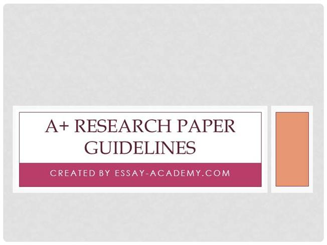 Research paper guidelines
