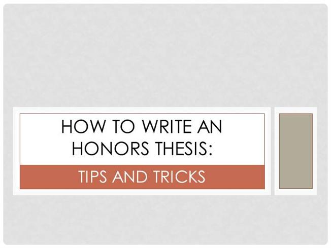Honors thesis help