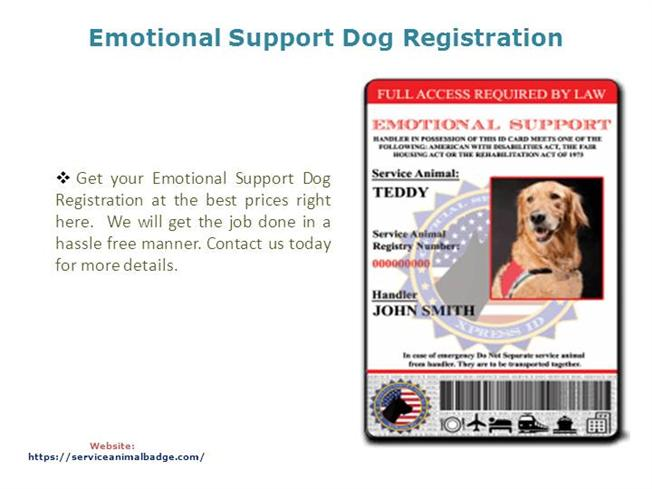 emotional support dog registration authorstream. Black Bedroom Furniture Sets. Home Design Ideas