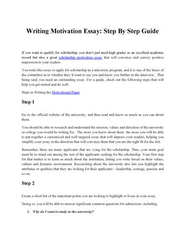 essay motivation Motivational articles, essays and advice from the leading thinkers in motivation, success thinking and business learn to create your best life, starting now.