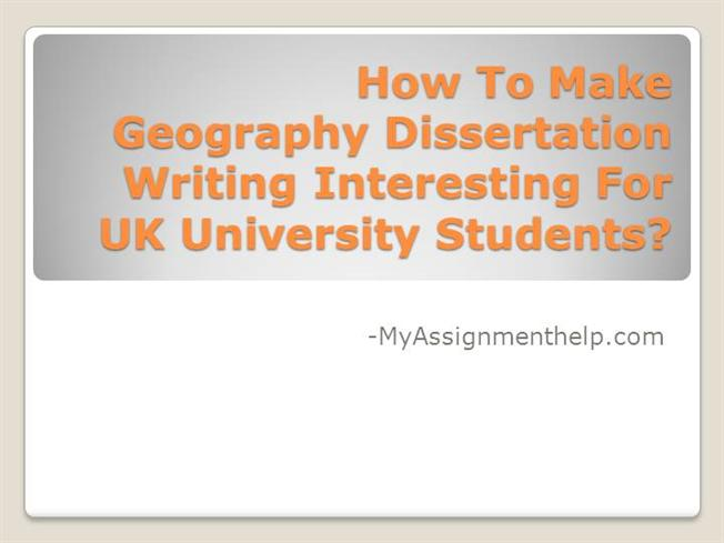 doing a dissertation in geography 3rd year undergraduate dissertation guidance notes for geography related degrees 2015/2016 key dates 9 am, tuesday 12th january 2016 (semester 2, week 1).