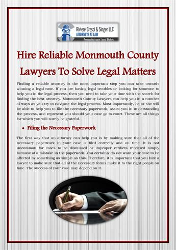Hire Reliable Monmouth County Lawyers To Solve Legal Matters - Help with legal paperwork