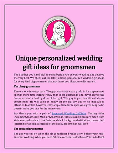 Unique Personalized Wedding Gift Ideas for Groomsmen authorSTREAM