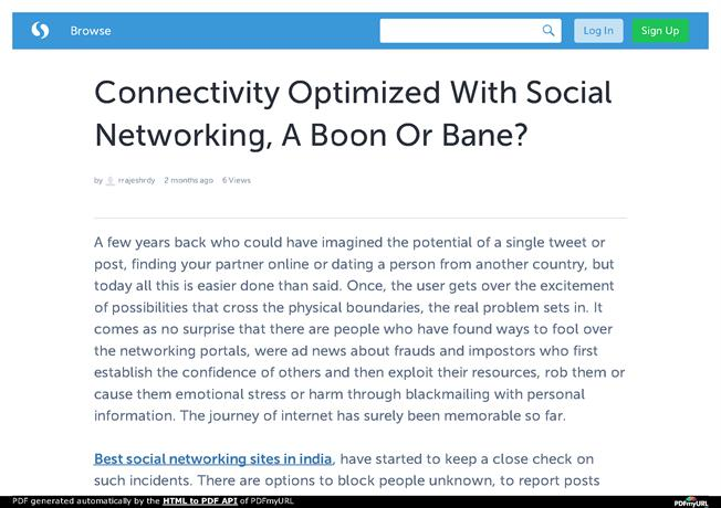 essay social networking sites-boon bane social networking: boon or bane thesis statement: this study entitled social networking boon or bane is limited to 30 night class students who are.