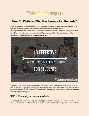 how to write an effective resume for students authorstream
