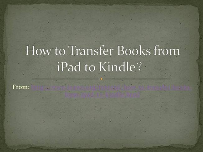 how to download books from ipad to kindle