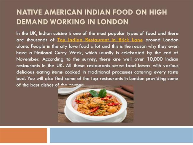 Native american indian food on high demand working in for American cuisine in london