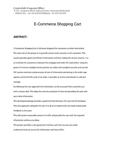 internet shopping cart system project
