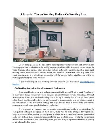 3 Essential Tips On Working Under A Co Working Area | Arendo Cowor..  |authorSTREAM