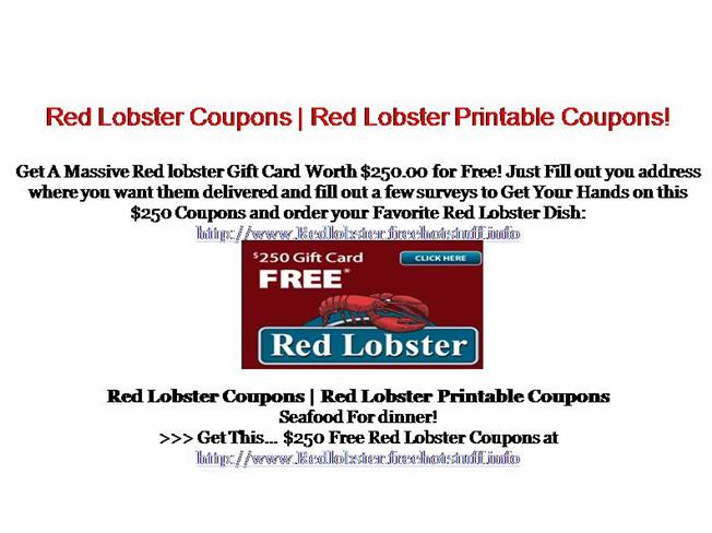 red lobster coupons authorstream. Black Bedroom Furniture Sets. Home Design Ideas