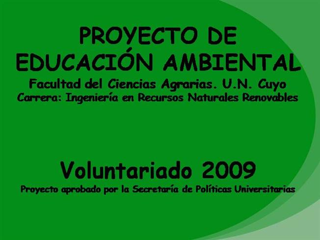 proyecto de educaci n ambiental authorstream