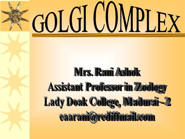 golgi complex structure and function pdf
