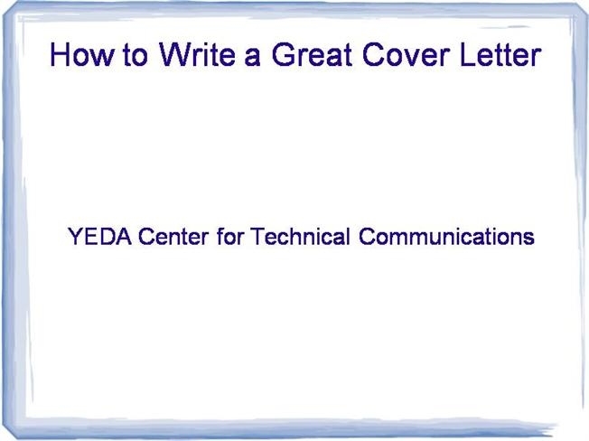 who to write a great cover letter