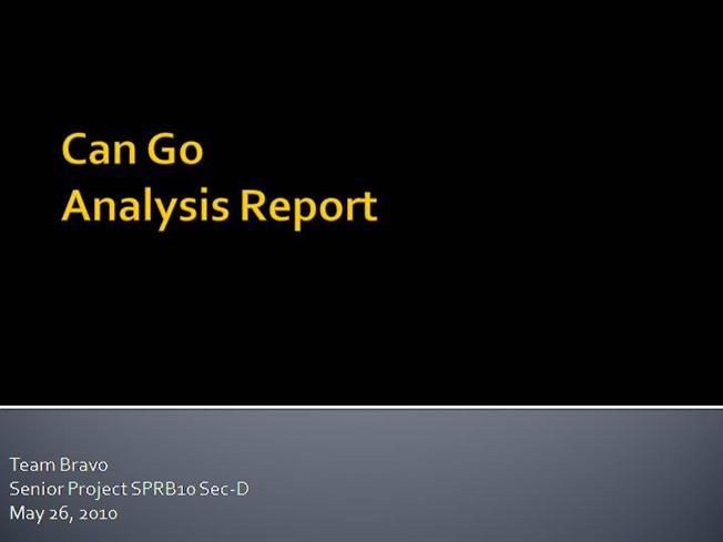 cango final presentation report Final report - cango grade for how well you are assisting your teammates with the preparation for the final presentation and final report be.