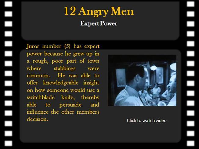 """12 angry men power and influence Plot of """"12 angry men,"""" these theories are applicable the central route to persuasion is the process by which a person thinks carefully about a communication and is influenced by the power of argument."""