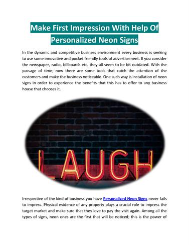 Make First Impression With Help of Personalized Neon Signs