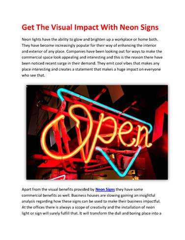 Get the Visual Impact With Neon Signs
