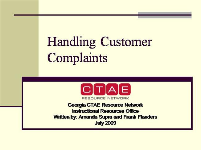 work instruction for handling a complaint Customer complaints handling directly show the put together a compendium with instructions & other documents 7 keep the work up - discuss customer complaints.