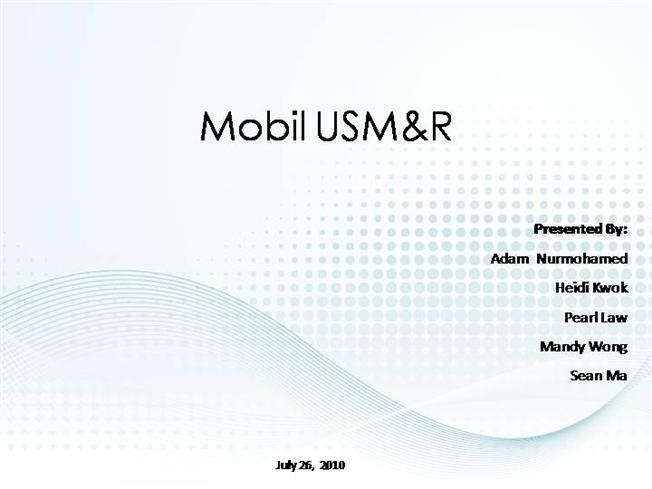 mobil usm r analysis Mobil usm&r (a1) case solution,mobil usm&r (a1) case analysis, mobil usm&r (a1) case study solution, the first of the two parts of the case for the development and use of balanced scorecard (bsc) in the usa mobil marketing and processing division.