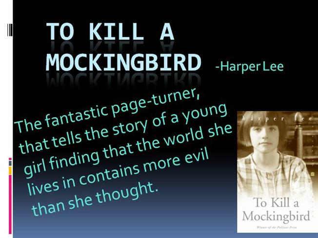 to kill a mockingbid oral presentation Buy the to kill a mockingbird 50th anniversary edition online from takealot  many ways to pay hassle-free exchanges & returns for 30 days 6 month  limited.