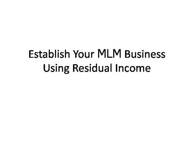 how to build residual income stream