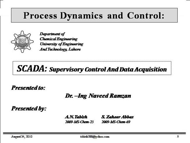 Data Acquisition And Control : Scada supervisory control and data acquisition authorstream