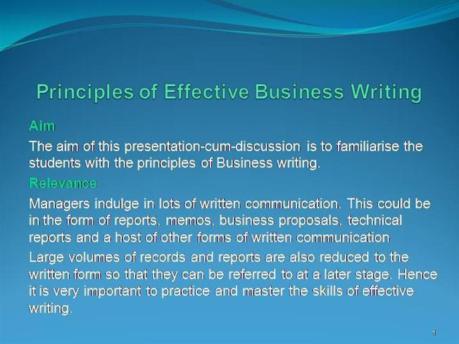 principles of effective business presentation The successful business principles course  download presentation  emphasizes practical and effective business approaches and techniques.