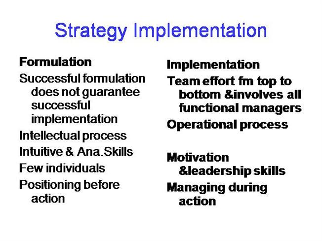 strategic implementation A strategy implementation case study of an organizational development intervention designed to help a frustrated ceo it describes a workshop for his executive and management team.