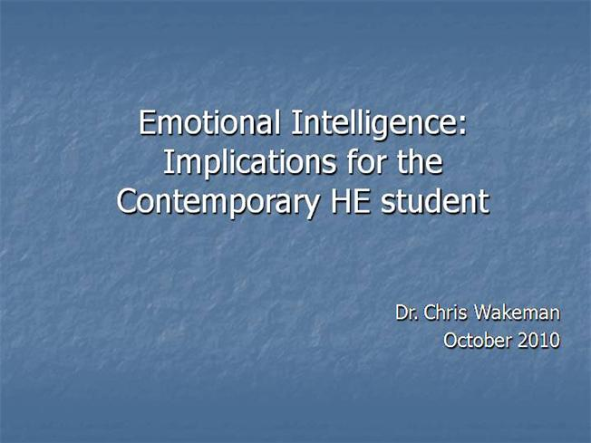 implication of emotional intelligence to students Relationship between the emotional intelligence of teachers and student academic performance of sixth grade math students and the emotional intelligence of their.