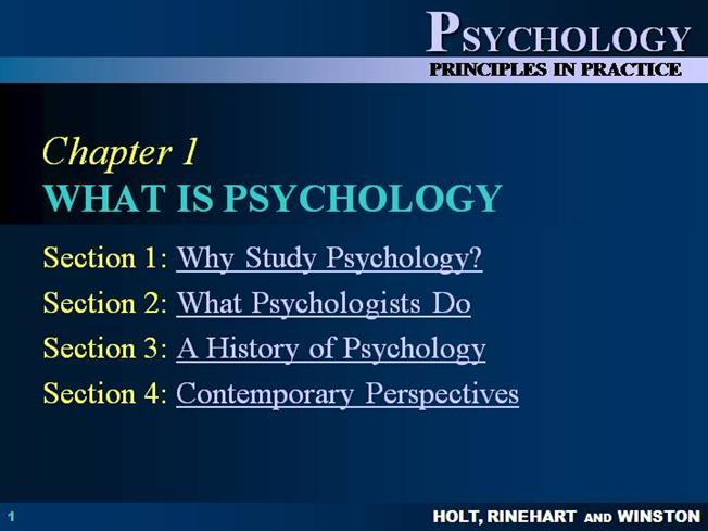 psychology ch 1 Hrw psychology: principles in practice ch 1 we use your linkedin profile and activity data to personalize ads and to show you more relevant ads.