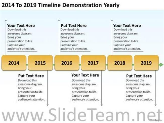 2014 to 2019 timeline yearly plan ppt slides